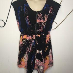 Bar III black with splatter print cap sleeve dress